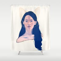 kitsune Shower Curtains featuring Kitsune by days & hours