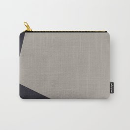 Dark Blue and Grey on Light Grey Asymmetrical Carry-All Pouch