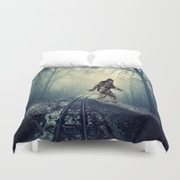 bigfoot Duvet Covers featuring Misty Railway Bigfoot Crossing by D.A.S.E. 3