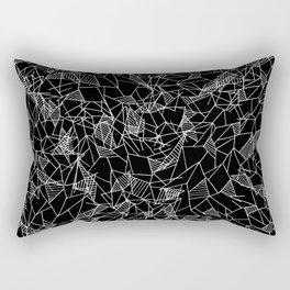 Black and White Geometric Stripes Triangles Rectangular Pillow