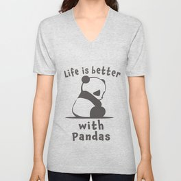 Cute Life is better with pandas gift for girls Unisex V-Neck