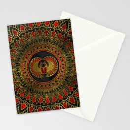 Egyptian Scarab Beetle - Gold and red  metallic Stationery Cards