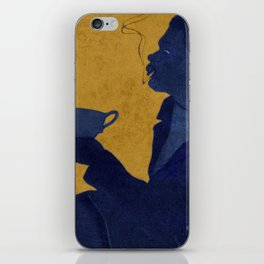 Vintage Blue and Yellow Turkish Coffee Woman with Cigarette iPhone Skin