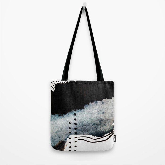 Closer - a black, blue, and white abstract piece Tote Bag