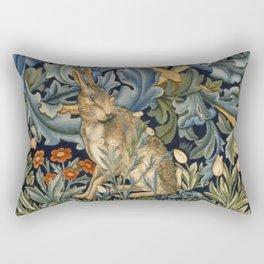 William Morris Forest Rabbit Floral Art Nouveau  Rectangular Pillow