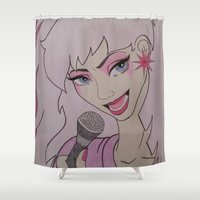 jem Shower Curtains featuring Jem and the Holograms  by DustyRoseArt
