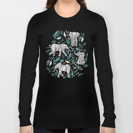 Baby Elephants and Egrets in Watercolor - egg shell blue Long Sleeve T-shirt
