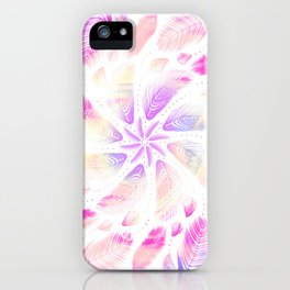 Trippy Rainbow Feathery Mandala - Dreamcatcher Sacred Geometry iPhone Case