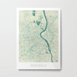 Bordeaux Map Blue Vintage Metal Print
