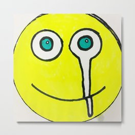 Crying Smiley Face Metal Print