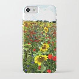 Field of Sunflowers, Bluebonnets, & Red Poppy floral portrait painting by J. Ferro & M. Bruggen  iPhone Case