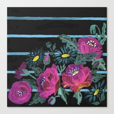 Watercolor . Poppies on a striped background . 2 Canvas Print