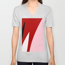 Abstract Flower Red #red #pink #artdeco #fresh #spring #minimal #art #design #kirovair #buyart #deco Unisex V-Neck