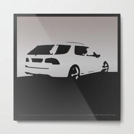 Saab 9-5 Aero, rear view, gray on black Metal Print