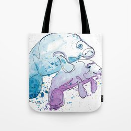 Manatee Mommy with Her Baby Tote Bag