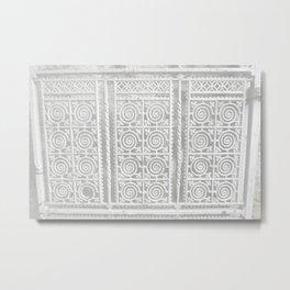 White Iron Gate Metal Print