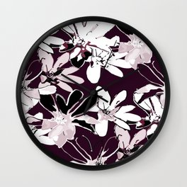 Magnolia - Dark Burgundy Wall Clock