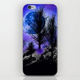 NEBULA STARS MOON BLACK TREES MOUNTAINS VIOLET BLUE iPhone Skin