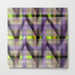 Purple Neon Green checkers paper fold Metal Print