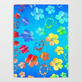 Tie Dye Honu And Hibiscus Poster