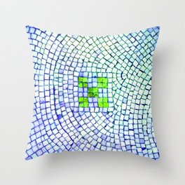 artisan 22.06.16 in lime & shades of blue Throw Pillow