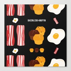 Bacon, Egg & Muffin!! -DARK- Canvas Print