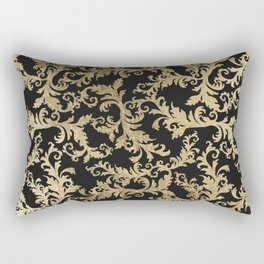 Chic vintage faux gold floral damask pattern Rectangular Pillow