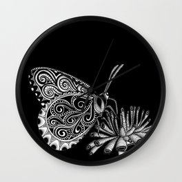Tangled Butterfly on Black Wall Clock
