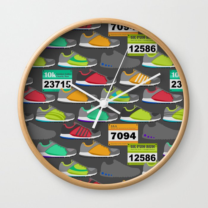 Running Shoes and Race Bibs Wall Clock by run_quiltgirl_run | Society6