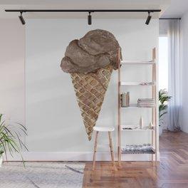 Watercolor Chocolate Ice Cream Waffle Cone Wall Mural