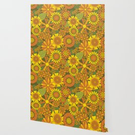 Orange, Brown, Yellow and Green Retro Daisy Pattern Wallpaper