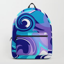 Finger Paint Swirls in Turquoise, Lavender, Purple, Navy Backpack