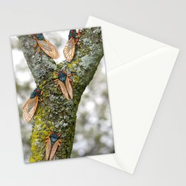 17 year cicadas on lichen covered tree branch Stationery Cards