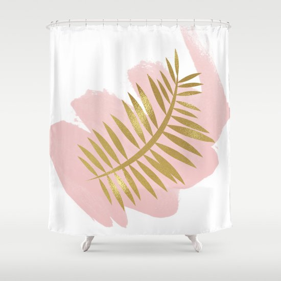 golden palm on blush pink shower curtain by peggie prints