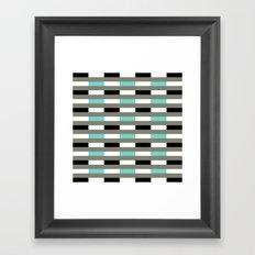 Turquoise, black & gray line pattern Framed Art Print