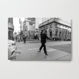 Flying woman in Toronto city streets in black and white Metal Print