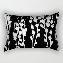 Pussywillow Silhouette — Black & White Rectangular Pillow