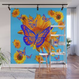 BABY BLUE COLOR & BLUE-GOLD MONARCH BUTTERFLIES Wall Mural