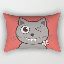Winking Cartoon Kitty Cat Rectangular Pillow