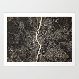 budapest map ink lines Art Print