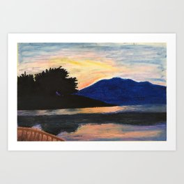 Canoeing at Sunset Art Print