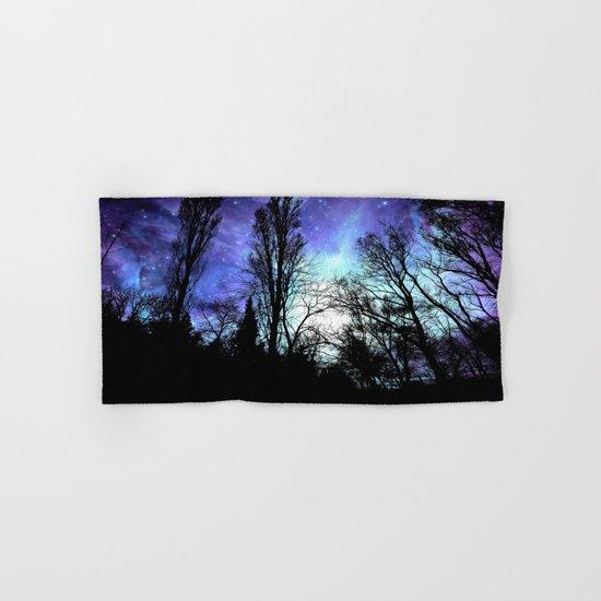 black trees periwinkle space Hand & Bath Towel
