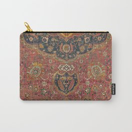 Persian Medallion Rug I // 16th Century Distressed Red Green Blue Flowery Colorful Ornate Pattern Carry-All Pouch