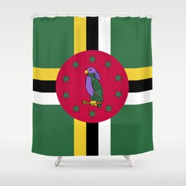 Dominica flag emblem Shower Curtain