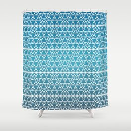 Triangles in Triangles White on Blue Shower Curtain