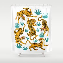 Tigers dance in tropical forest illustration Shower Curtain