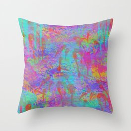 Whimsical pink teal neon green yellow abstract watercolor Throw Pillow