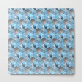 Hexagon Cube Pattern Blue Grey Metal Print