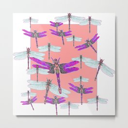 PURPLE  & GOSSAMER WHITE  DRAGONFLIES CORAL ART DESIGN  ART decor, furn Metal Print