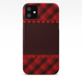 Red brown plaid, plaid blanket, red and brown pattern, patchwork, folklore, rustic style, elegant pa iPhone Case